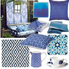 Turn your outdoor space into a Morrocan riad with bamboo fencing, ikat-themed cushions and lots of peacock blue!