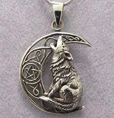 Bronze WOLF & MOON Pendant with Black Leather Cord Necklace - Celtic Pentagram X