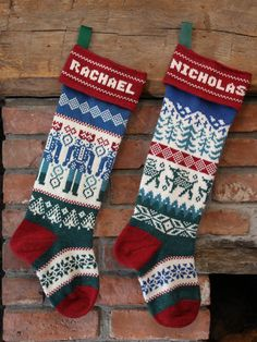 Handmade with wool spun in Maine, this pair of stockings features Nutcrackers and prancing deer. Knitted Christmas Stocking Patterns, Unique Christmas Stockings, Christmas Knitting, Needlepoint Stockings, Knit Stockings, Christmas Projects, Christmas Crafts, Christmas Ornaments, Nordic Christmas