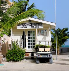 Drove by this in the golf cart and chuckled at the size of the police station. Vacation Destinations, Vacation Spots, San Pedro Belize, Ambergris Caye, Belize Travel, Police Station, Caribbean Sea, Central America, Places To Travel