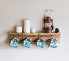 "Barn wood coffee mug holder, reclaimed cup hooks, 24"" x 4"" barn wood hanger with 4 pegs"