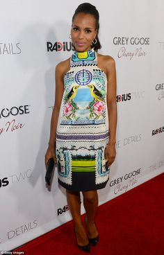 Kerry Washington slipped into a shift dress featuring an Oriental-style print for the RADiUS-TWC premiere of The Details at the ArcLight Cinemas in Hollywood on Monday night