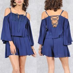 KATHALYN open shoulder romper - NAVY BLUE Super cute Criss cross back design. Show off those sexy shoulders in this beauty. NO TRADE, PRICE FIRM Bellanblue Pants Jumpsuits & Rompers