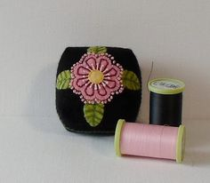 Handmade Pincushion Felted Wool Black with by QuiltShenanigans