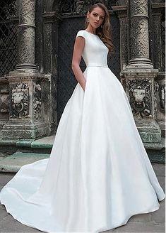 dac8eb31de  165.59  Wonderful Satin Bateau Neckline A-line Wedding Dress With Beaded  Lace Appliques