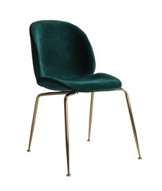 Replica Beetle Chair fully upholstered in a dreamy emerald green velvet. Beetle Chair, Seat Available, Charles & Ray Eames, Green Velvet, Grey Fabric, Emerald Green, Dining Chairs, Furniture, Design