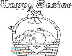 easter egg basket coloring pages to print - Kids Coloring Pages Coloring Pages To Print, Coloring For Kids, Coloring Pages For Kids, Easter Egg Basket, Easter Eggs, Kids Prints, Easy Drawings, Happy Easter, Printables