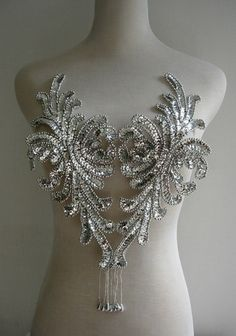 BD43 Fringed Bodice Front Sequin Bead Applique Motif Silver Tutu/Dancewear