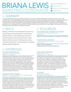 briana lewis resume by briana lewis via behance marketing coordinator in the orange - Free Marketing Resume Templates