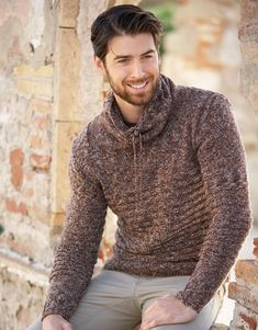 Pull homme Merino Effect Catalogue n° 79 Adulte (Katia) Sweater Jacket, Men Sweater, Inspiration Mode, Knitting Designs, Knitting Patterns, Sexy Men, Hot Men, Pulls, Mode Masculine