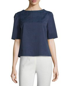 Lafayette 148 New York Molly Jacquard Half-Sleeve Blouse, Delft/Multi New offer @@@ Price :$368 Price Sale $219
