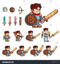 Character is prepared for animation or creating fantasy video games. Character with a set of additional elements a shield, three sword, a bow, a quiver and a helmet Game Character Design, Character Design Inspiration, Cartoon Knight, Cartoon Male, Fantasy Art Landscapes, Animation, Cartoon Characters, Fictional Characters, Sports Illustrated