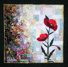 Stitchin' Therapy: Watercolor Quilts  Remembrance Poppies, the symbol of Veteran's Day, stand proud in the sunshine.