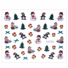 Christmas Style Nail Stickers 3D Nail Art Decorations Water Transfer Manicure Tips Sticker Decal DIY Tools For Charms Nails #ChristmasNails