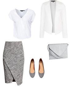 K:  Bluzka New Look  Marynarka Top shop  Buty, torebka, spódnica H&M