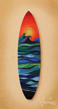 Surfboard Art on 7 foot surfboard  Original by MaiaWalczakArt