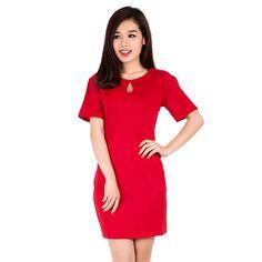 Đầm tay lửng cổ giọt nước màu đỏ - Khánh Linh » CungMua.com