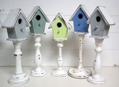Birdhouse on candlestick. I could do this for $2. Dollar store candle stick and 1 dollar bird house at Joanns (plus a joanns coupon of course)