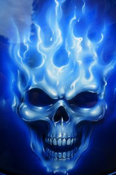 Skull Drawings With Blue Flames images & pictures - NearPics Blue Flame Tattoo, Flame Tattoos, Skull Tattoos, Art Tattoos, Skull Artwork, Skull Painting, Air Brush Painting, Skull Drawings, Fire Painting