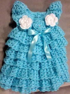 Baby Dress Crochet Baby Layers Dress Handmade by SuziesTalents, $84.00