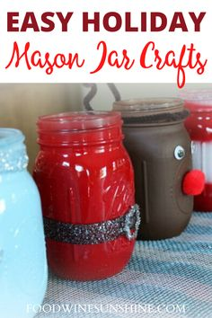 How To Make Santa Mason Jars + More Holiday Jar Tutorials | These DIY Christmas Mason Jars are adorable and make great gifts! See How To Make Santa Mason Jars and check out More Holiday Jar Tutorials | Read more easy crafts, healthy recipes and fitness tips on foodwinesunshine.com | Food Wine Sunshine #diy #easycrafts #healthylifestyle #lifestyleblogger #foodblogger #christmas #holidays Fun Crafts To Do, Easy Diy Crafts, Crafts For Kids, Christmas Mason Jars, Christmas Holidays, Mason Jar Crafts, Winter Food, Wine Recipes, Holiday Recipes