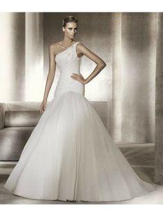 Organza Ball Gown Asymmetrical Neckline Gathered Bodice Wedding Dress