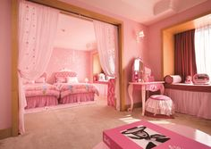 The pink Barbie Room at the Sheraton Grande Walkerhill in Seoul, Korea Barbie Castle, Princess Castle Bed, Barbie Bedroom, Castle Bedroom, Pink Bedrooms, Room Pictures, Kids Bedroom, Bedroom Ideas, Girl Room