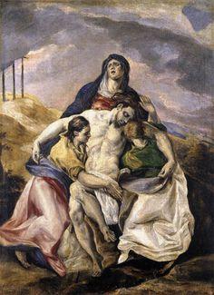 El Greco, Pietà, c. 1575 Oil on canvas, 66 x 48 cm The Hispanic Society of America, New York Spanish Painters, Spanish Artists, Religious Images, Religious Art, Oil On Canvas, Canvas Art, Catholic Art, Art Moderne, Art Graphique