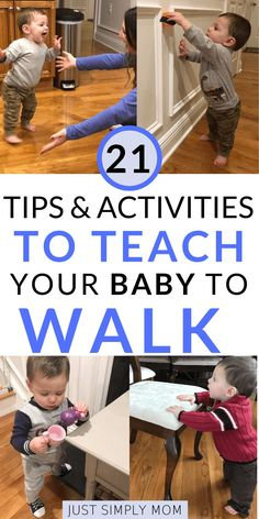 Looking for tips and activities on how to teach baby to walk? Here are several ways to help your infant or toddler get on the move quickly by strengthening their legs and trunk muscles for improved gross motor skill milestones. Teaching Babies, Baby Learning, Teaching Baby To Walk, Helping Baby Walk, Preschool Learning, Baby Development By Week, 5 Month Old Baby, Baby Hacks, Baby Tips