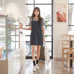 #envylook Striped Mock Layered Pinafore Dress #koreanfashion #koreanstyle #kfashion #kstyle #stylish #fashionista #fashioninspo #fashioninspiration #inspirations #ootd #streetfashion #streetstyle #fashion #trend #style