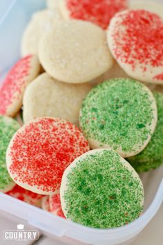 soft sugar cookies in container