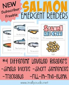 These fun Salmon Emergent Readers are perfect your up and coming fisherman or budding reader! Printable Activities For Kids, Book Activities, Sequencing Activities, Preschool Themes, Free Printables, Science Lessons, Lessons For Kids, Art Lessons, Free Homeschool Curriculum
