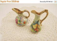 DDOS Vintage Lot 2 Ucagco Ceramics Miniature Pitchers Small Ewer Made in Japan Fruit and Floral Design Vases
