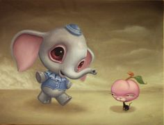 peaches and the elephunt by JasonJacenko on DeviantArt Pop Art, Surreal Artwork, Macabre Art, Lowbrow Art, Pop Surrealism, Color Stories, Horror Art, New Artists, Art Pictures