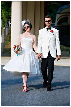 cuteness, retro bride and groom. White tux, short wedding dress