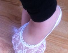 WHITE LACE SOCKS, Lined in Lace Socks in White/ white lace sock , foot liner,Lace Peep Socks,