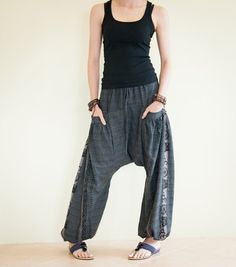 Would be nice for yoga: Textured Cotton Harem Aladdin Unisex Pants Om by AmazingThaiStore, $38.00