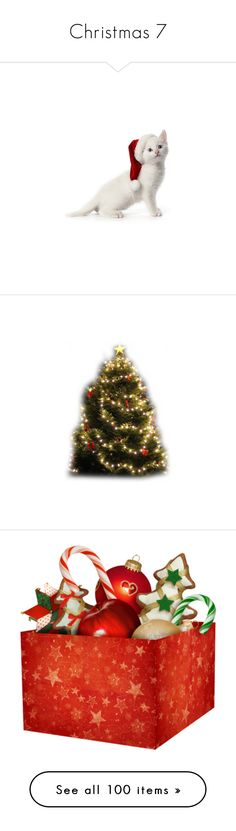 """""""Christmas 7"""" by michelle-jones-1 ❤ liked on Polyvore featuring christmas, animals, cats, xmas, holidays, christmas trees, noel, winter, home and home decor"""
