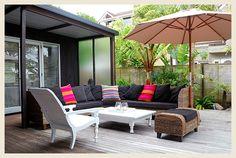 BuildDirect – Interlocking Deck Tiles - Deck in a Box – Walnut - Outdoor View Backyard Canopy, Canopy Outdoor, Outdoor Walls, Outdoor Living, Outdoor Furniture Sets, Outdoor Decor, Awning Canopy, Outdoor Umbrellas, Outdoor Screens