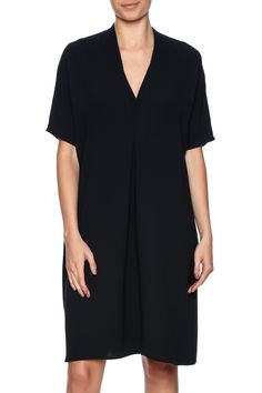 A clean pintuck detail creates an inverted double V in this seasonless crepe shift dress. The sleeves hit just above the elbow while the straight hem falls just below the knee to craft a modern silhouette with beautiful drape.  Crepe Dolman Dress by Vince. Clothing - Dresses - Knee Clothing - Dresses - Work Clothing - Dresses - Short Sleeve Ohio