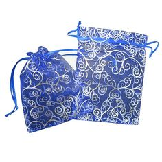50 Organza Gift Bags /Pack of 50 Blue Color Organza Drawstring Gift Bag Pouch Wrap for Party/game/wedding/ White Eyelash Organza Drawstring Pouches Jewelry Party Wedding Favor Gift Bags/organza Favor Bags(blue with Silver Details) 7' X 5' *** For more information, visit image link.