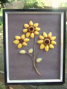 Sunflower Pistachio Art Piece by sallyhandmadebeauty on Etsy
