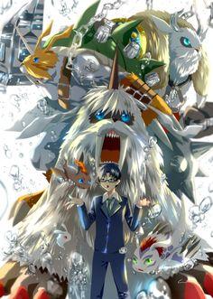 Gomamon-Ikkakumon-Zudomon-Vikemon by winni @Pixiv.net | Digivolution, Joe Kido, Pichimon-Pukamon (Bukamon)
