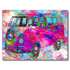 Bright #neon pink, blue and green color seems to swirl around this #retro# hippie #minivan in a #psychedelic fantasy. A fun postcard to send to a friend or put up in your room for a pop of color. #Boho #Bohemian #gypsy