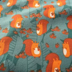 Orange Squirrels Lillestoff Organic Jersey  by BizzyandBooFabrics