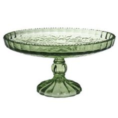green glass cake stand/love this shade of green