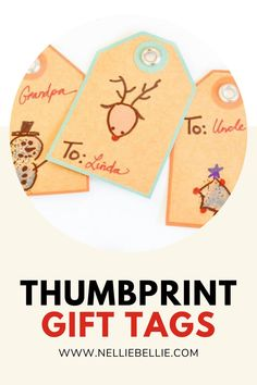 Have your kids make these simple Christmas gift tags. Check out all the fun different materials you can use to make these adorable tags. #Thumbprint #Kidscrafts #Gifttags Best Christmas Gifts, Simple Christmas, Easy Gifts, Creative Gifts, Homemade Gift Tags, Crafts For Kids, Diy Crafts, Simple Bags, Make A Gift