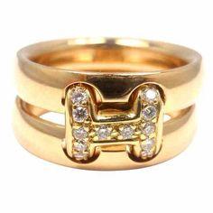 """➗Hermès diamond yellow gold """"H"""" ring."""