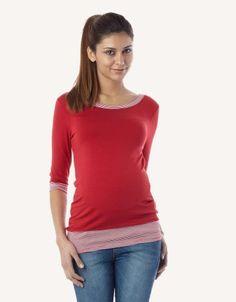 Red Sailor Stripe Boatneck Top