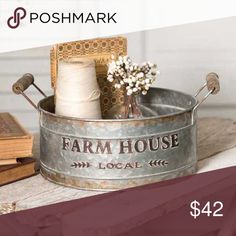 "A rustic farmhouse round bin with handles. This bin has embossed lettering that reads, ""Farm House Local"". It's modern yet rustic and will bring a subtle element of texture to your home. Measurements: x x Style: Rustic Farmhouse Primitive Bathrooms, Primitive Kitchen, Primitive Country, Primitive Homes, Rustic Kitchen, Country Bathrooms, Country Kitchen, Vintage Kitchen, Vintage Industrial Decor"